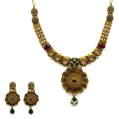 22K  Yellow Gold Necklace & Earrings Set W/ Rubies, Emeralds & Antique Finished Faceted Flower Pendants