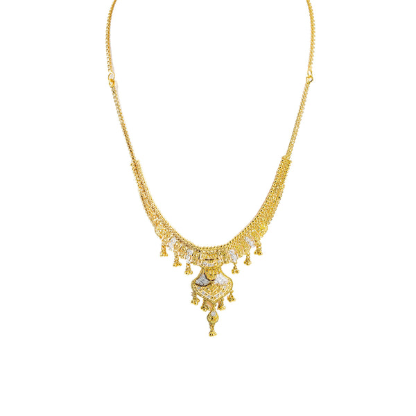 22K Multi Tone Gold Necklace & Earrings Set W/ Beaded Filigree & Draping Chandelier Pendant |  22K Multi Tone Gold Necklace & Earrings Set W/ Beaded Filigree & Draping Chandelier Pend...