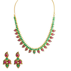 22K Yellow Gold Necklace & Earrings Set W/ Rubies, Emeralds & Mango Details in Antique Finish