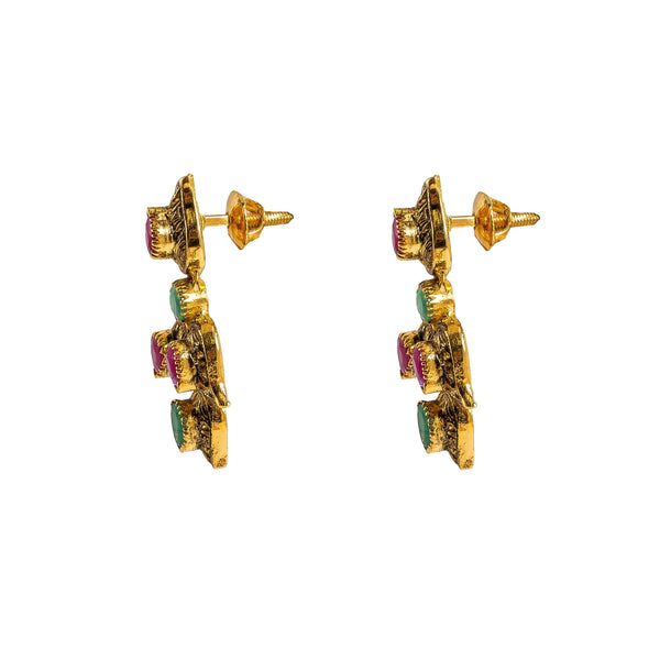 22K Yellow Gold Necklace & Earrings Set W/ Rubies, Emeralds & Mango Details in Antique Finish |  22K Yellow Gold Necklace & Earrings Set W/ Rubies, Emeralds & Mango Details in Antique F...