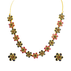 22K Yellow Gold Necklace & Stud Earrings Set W/ Rubies & Sapphires on Large Flower Pendants
