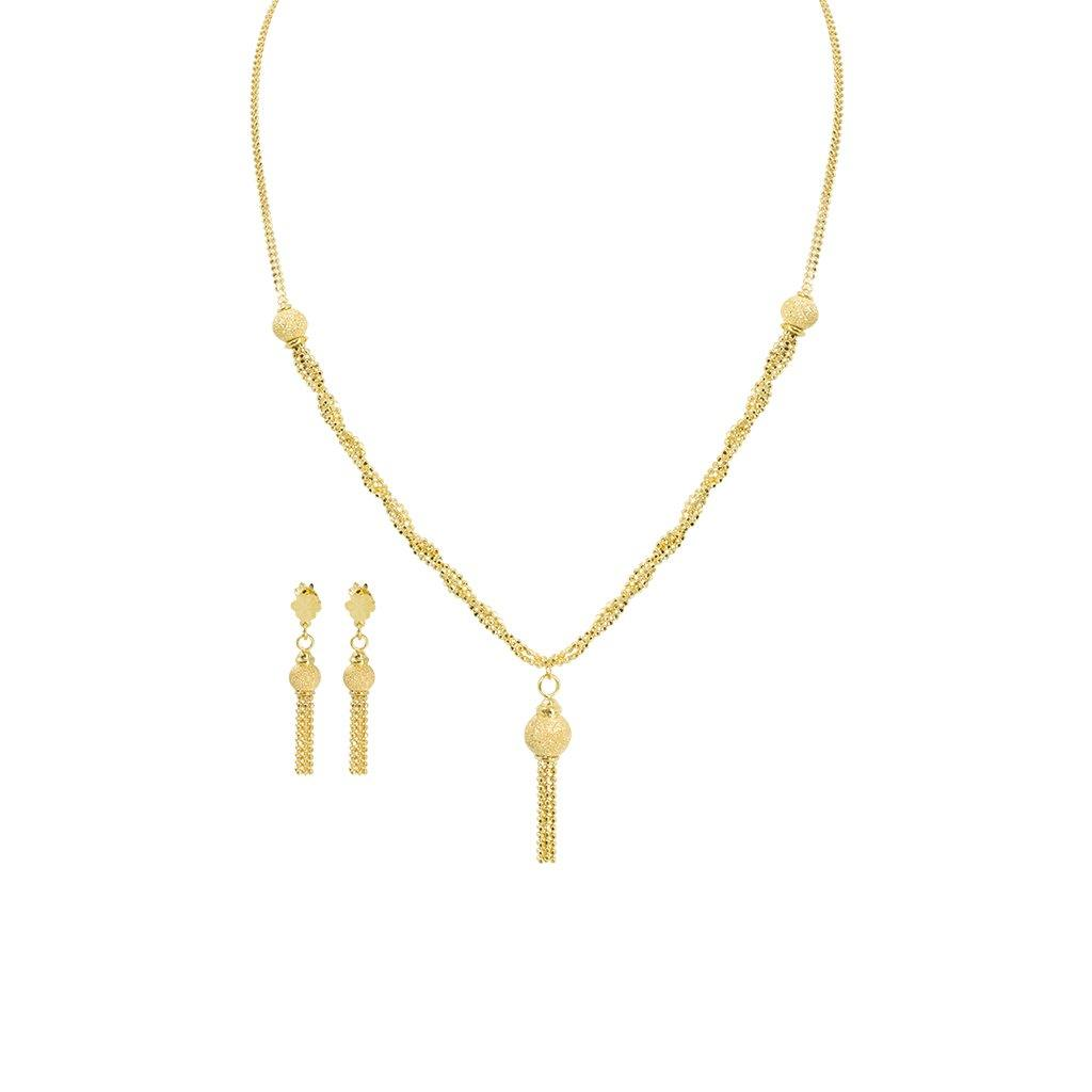 22k Yellow Gold Necklace Earrings Set W Twisted Beaded Chains Tas Virani Jewelers