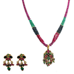 22K Yellow Gold Necklace & Earrings Set W/ Rubies, Black Sapphires & Emeralds