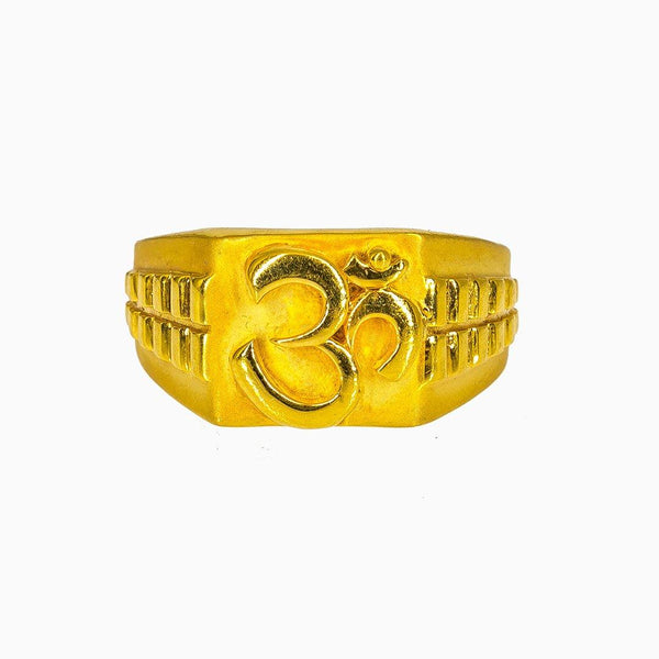 22K Yellow Gold Om Signet Ring for Men |  22K Yellow Gold Om Signet Ring for Men. This handsome 22K yellow gold signet ring features a dee...