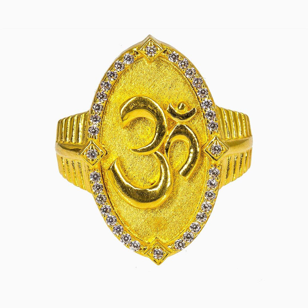22K Yellow Gold Om Ring for Men W/ CZ Gems & Flat Shield Frame |  22K Yellow Gold Om Ring for Men W/ CZ Gems & Flat Shield Frame. This unique 22K yellow gold ...