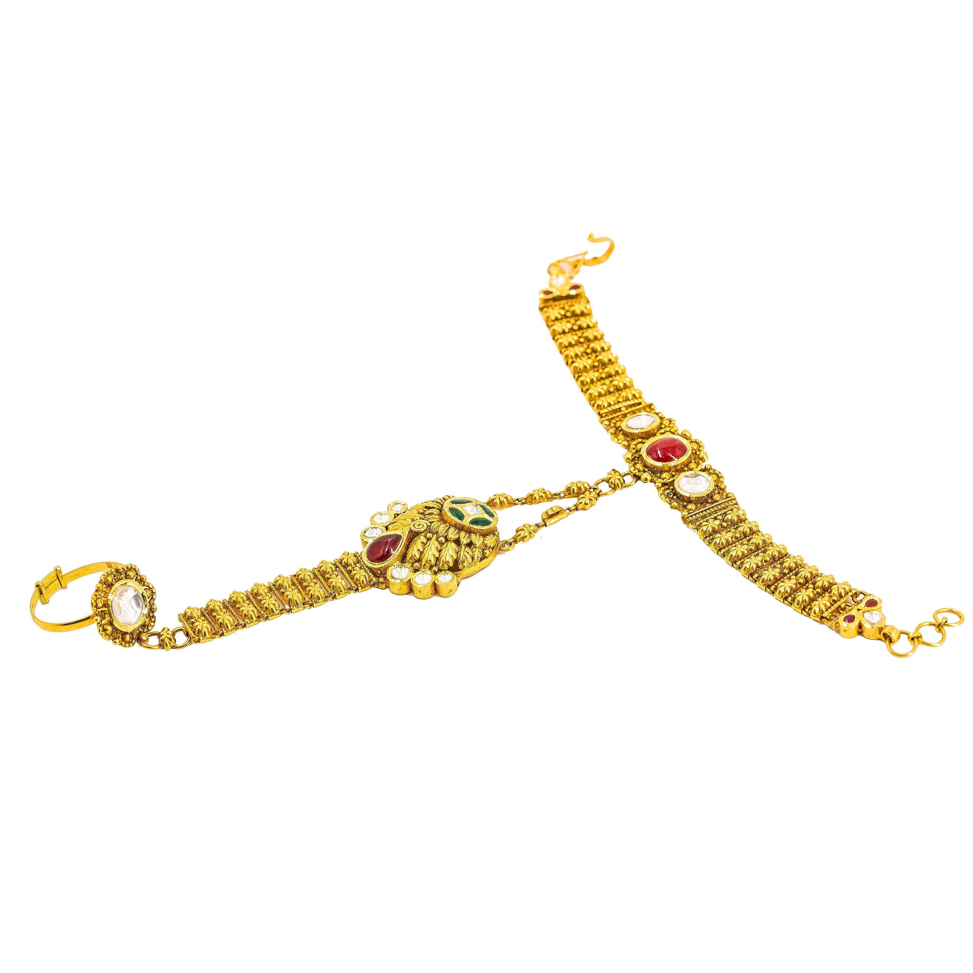 48b6506095a01 22K Yellow Gold Panja Finger Bracelet W/ Kundan & Hollow Round Pendant on  Flower Accented Chain
