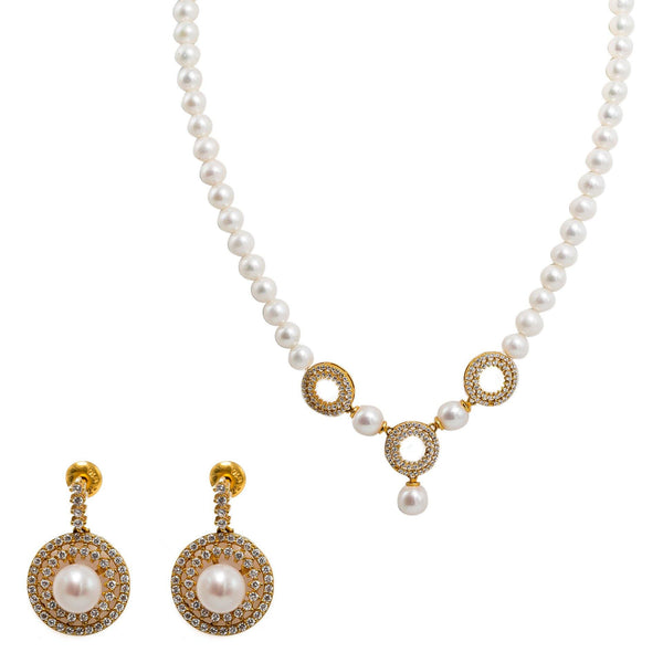 22K Yellow Gold Pearl Necklace & Earrings Set W/ Pearls, CZ Gems & Round Eyelet Accents |  22K Yellow Gold Pearl Necklace & Earrings Set W/ Pearls, CZ Gems & Round Eyelet Accents ...