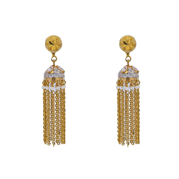 An image of the dangle 22K gold earrings with uncut diamonds and pearls from Virani Jewelers. | Show off your glamorous side with this dazzling 22K gold necklace set from Virani Jewelers!  Made...