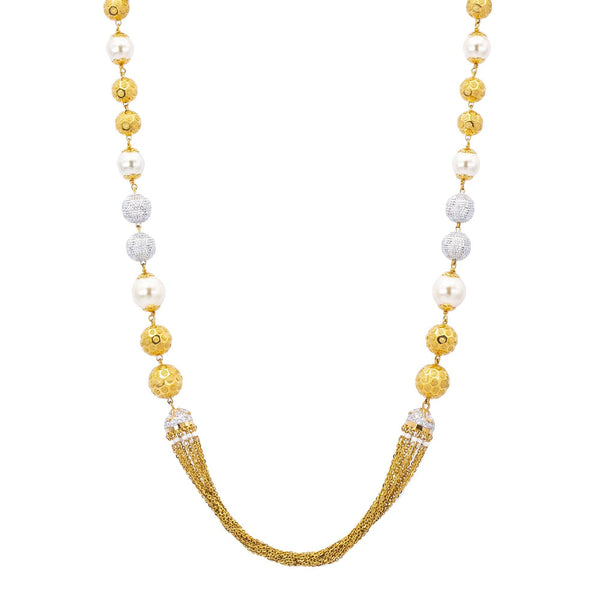 An image of the 22K gold necklace with white and yellow gold and uncut diamonds from Virani Jewelers. | Show off your glamorous side with this dazzling 22K gold necklace set from Virani Jewelers!  Made...