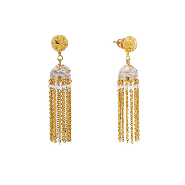 An image showing the front and side views of the 22K gold earrings from Virani Jewelers. | Show off your glamorous side with this dazzling 22K gold necklace set from Virani Jewelers!  Made...