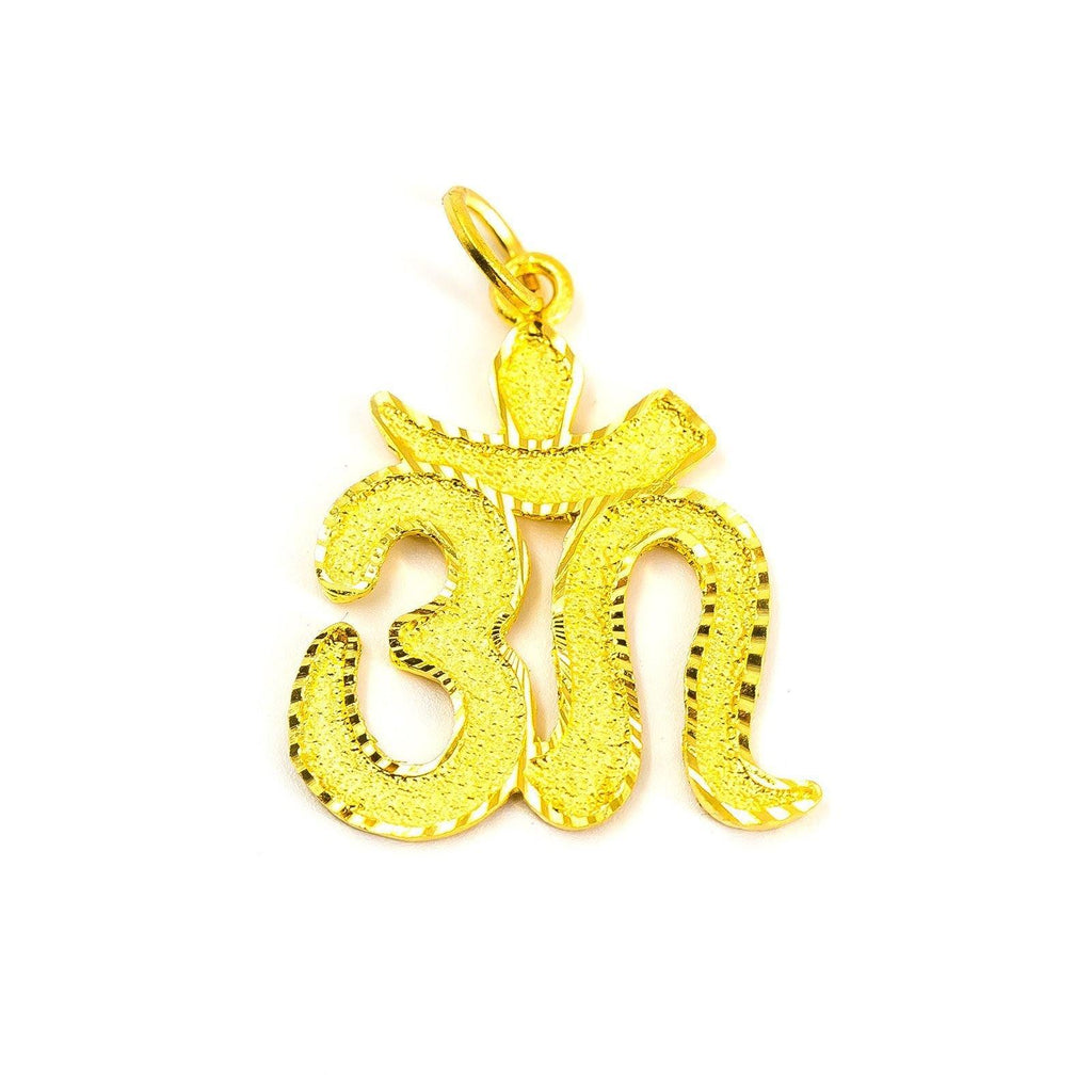 "22K Yellow Gold ""Om"" Pendant W/ Artisanal Bold Script Font, 25 mm 
