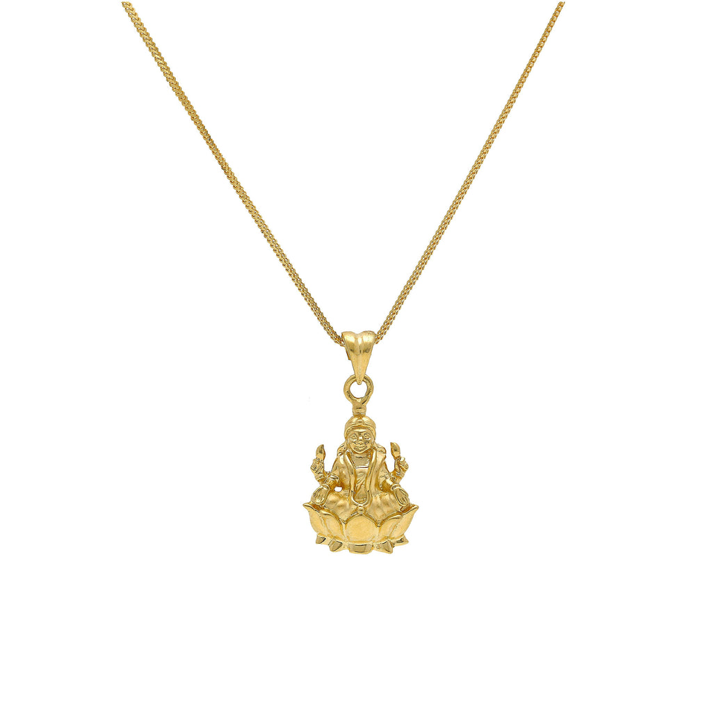 An image of an Indian pendant featuring Laxmi on a lotus from Virani Jewelers. | Discover fine jewelry that represents important parts of your religion and culture when you shop ...