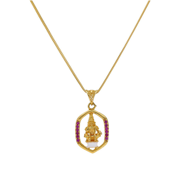 An image of an Indian pendant featuring Hanuman with a halo design from Virani Jewelers. | Embrace the strength of Ayyappa when you wear this Indian pendent from Virani Jewelers!  Made wit...