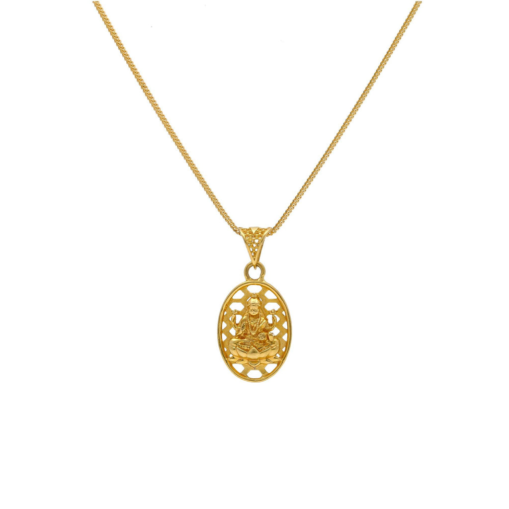 22K Yellow Gold Laxmi Pendant W/ Laser Cut Halo Frame |    Add a bit of minimal gold to subtly accentuate the sleek lines of your attire with petite trea...