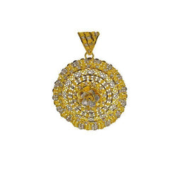 22K Multi Tone Gold Shield Pendant W/ Beaded Filigree & Faceted Flower