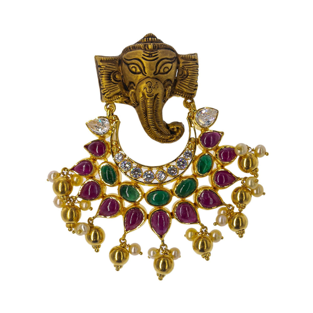 22K Yellow Antique Gold Ganesh Pendant W/ Emeralds, Rubies, CZ Gemstones & Pearls, 29gm | Grace your final look with a touch of gold and precious gemstone jewelry such as this 22K yellow ...