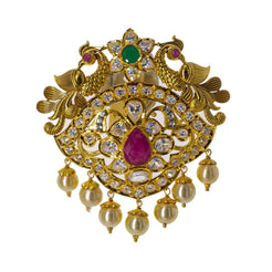22K Yellow Gold Eyelet Pendant W/ Emeralds, Rubies, CZ Gemstones, Pearls & Peacocks, 24.5gm