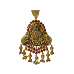 22K Yellow Gold Antique Laxmi Pendant W/ Rubies, 13.5gm