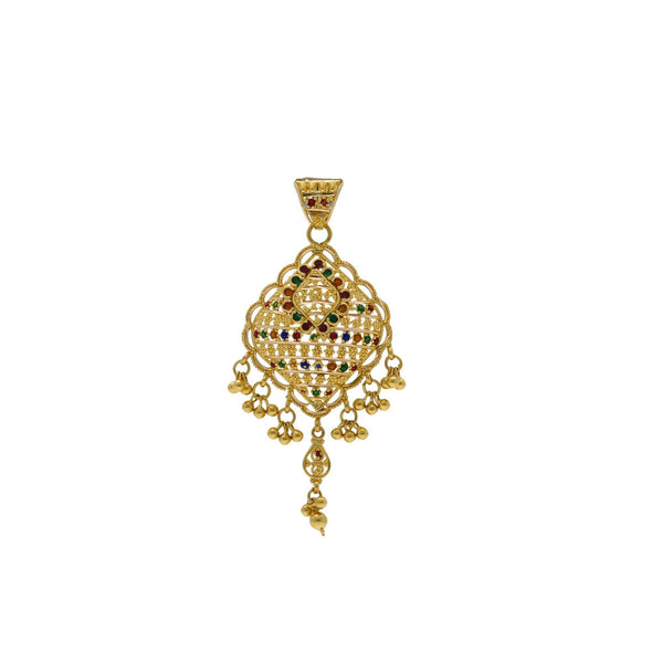 22K Yellow Gold Enamel Pendant W/ Cluster Balls Accents |    Bring in the subtle elements of gold and color with delicate pieces like this 22K yellow gold ...