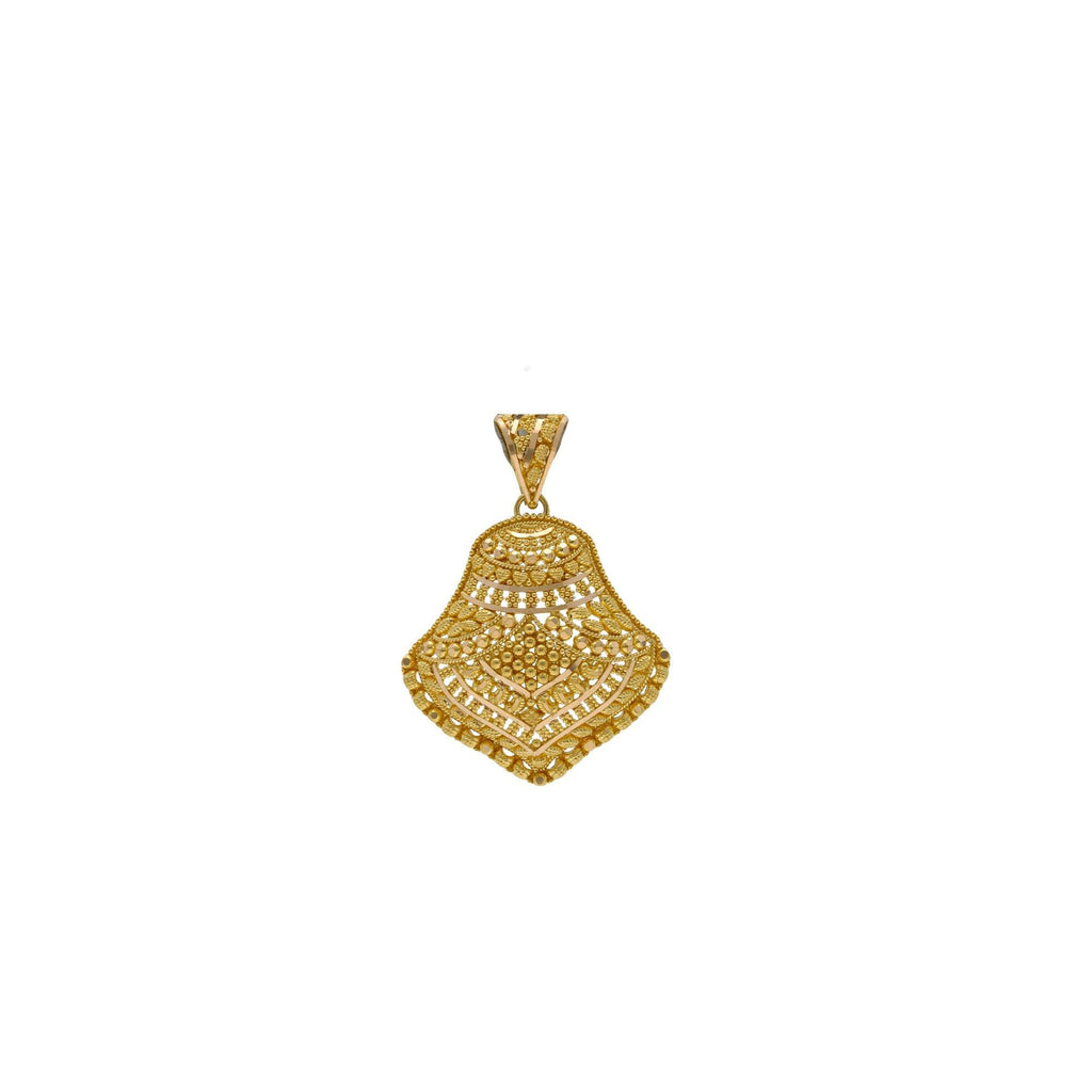 22K Yellow Gold Oyster Pendant W/ Filigree Designs |    Everyday looks deserve an essential amount of radiant gold such as this delicate 22K yellow go...