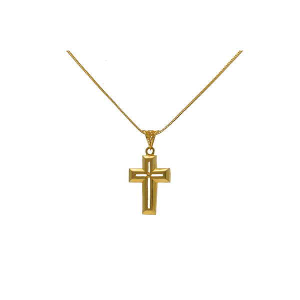 22K Yellow Gold Open Cut Cross Pendant |    Discover the angles and facets of simple design with this chic unisex 22K yellow gold open cut...