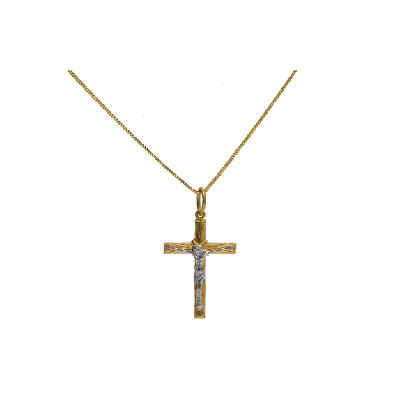 22K Multi Tone Gold Cross Pendant W/ White Gold Crucified Christ |    The significance of great jewelry lies with meaningful designs and quality gold, much like thi...