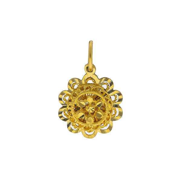 22K Yellow Gold Flower Pendant W/ Layered Faceted Design |    Enjoy the feminine beauty of floral designs with this faceted 22K yellow gold flower pendant f...
