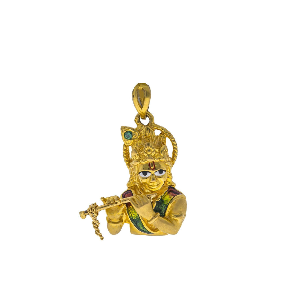 22K Yellow Gold Krishna Pendant W/ CZ & Enamel Hand Paint |    There is no denying the beauty of this most brilliantly colorful 22K yellow gold CZ Krishna pe...