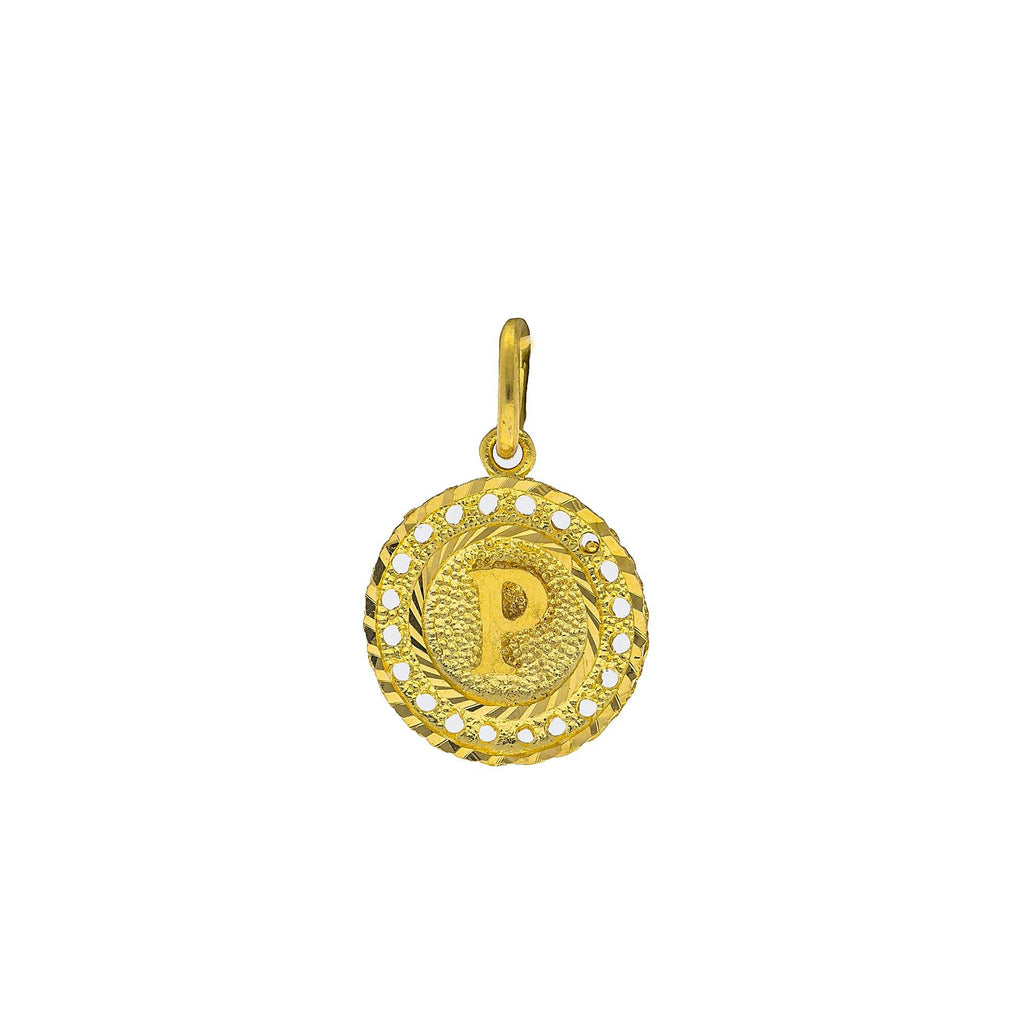 22K Yellow Gold Initial 'P' Pendant W/ Round Frame |    Personalize your chosen attire with this special 22K yellow gold initial 'P' pendant from Vira...