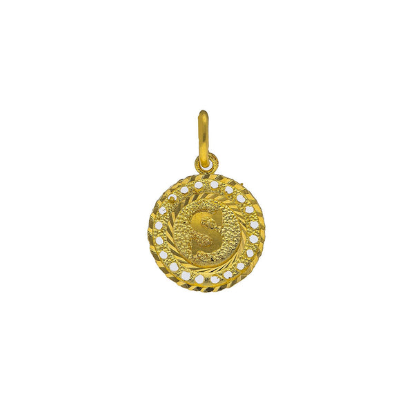 22K Yellow Gold Intial 'S' Pendant W/ Round Frame |    Take your attire to a personal level with this 22K yellow gold initial 'S' pendant from Virani...