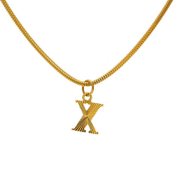 "22K Yellow Gold Engraved ""X"" Pendant 