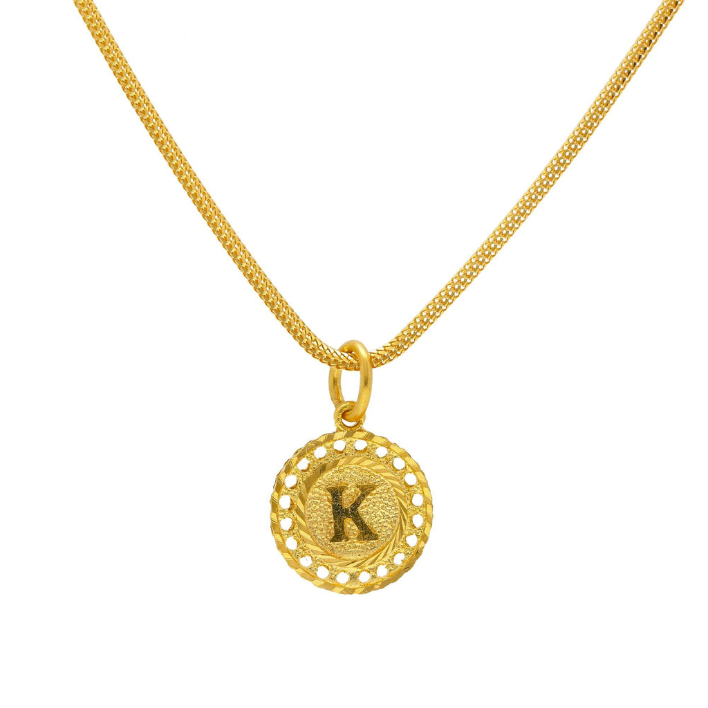 "22K Yellow Gold Perforated Round ""K"" Pendant 