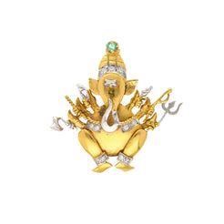 22K Multi-Tone Gold Abstract Lord Ganesh Pendant