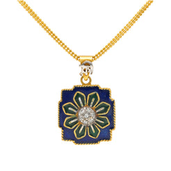22K Multi-Tone Gold & Enamel Indian Flora Pendant