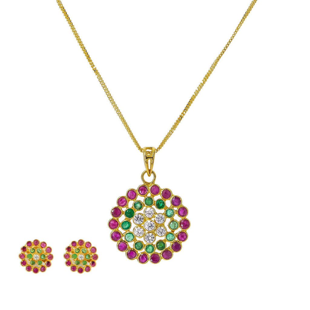 22K Yellow Gold Pendant Necklace & Earrings Set W/ Rubies, Emeralds, CZ & Confetti Design | Add color to your wardrobe with this bright and brilliant 22K yellow gold pendant necklace and ea...