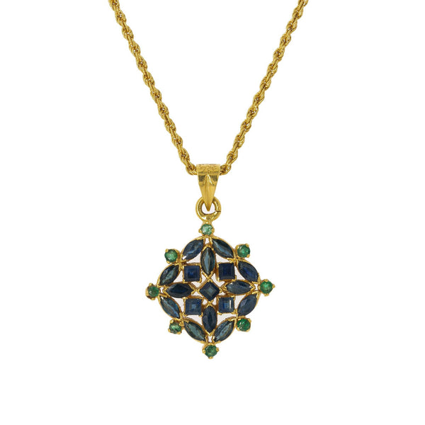 22K Yellow Gold Pendant Necklace & Earrings Set W/ Emeralds, Sapphires & Vintage Designs | Blend the elements of vintage design and deep colored precious gemstones with this breathtaking 2...