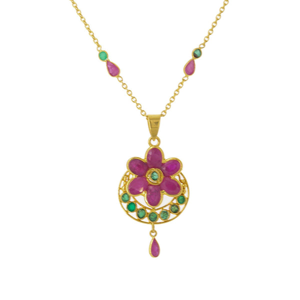 22K Yellow Gold Pendant & Chain Set W/ Ornate Ruby Flower | Simple, sleek and luxurious in this 22K yellow gold pendant and chain set from Virani Jewelers! F...