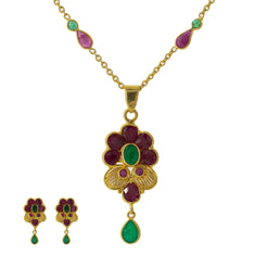 22K Yellow Gold Pendant Necklace, Earrings & Rings Set W/ Rubies & Emeralds