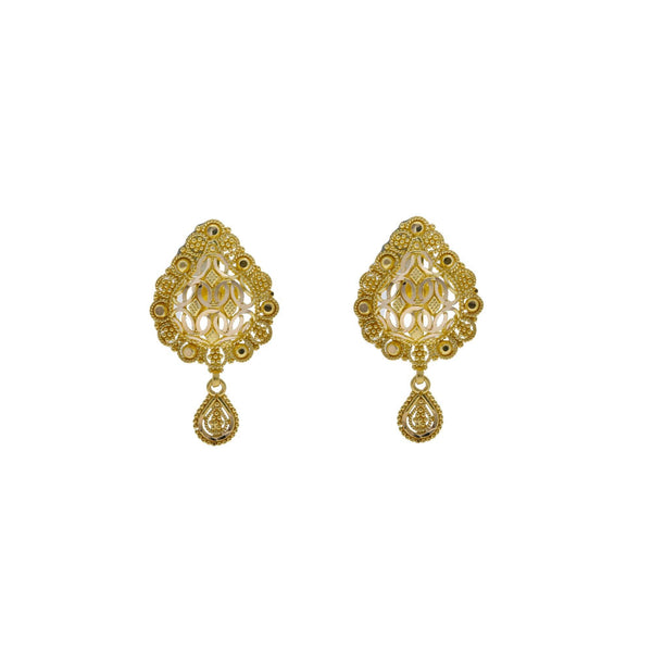 22K Yellow Gold Pendant & Earrings Set W/ Hollow Tear Drop Frame |    The facets of great jewelry incorporate the brilliance of gold with seamless designs much like...