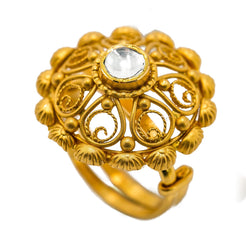 22K Yellow Gold Flower Ring W/ Kundan & Faceted Paisley Design