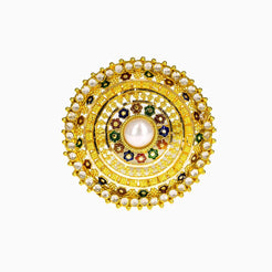 22K Yellow Gold Shield Ring W/ Meenakari, CZ Gems & Center Pearl