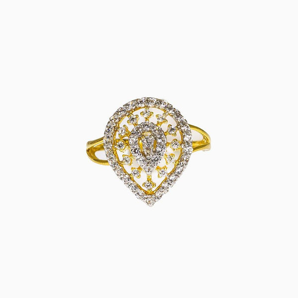 22K Yellow Gold Ring W/ CZ Gems & Open Teardrop Design |  22K Yellow Gold Ring W/ CZ Gems & Open Teardrop Design for women. This radiant 22K yellow go...