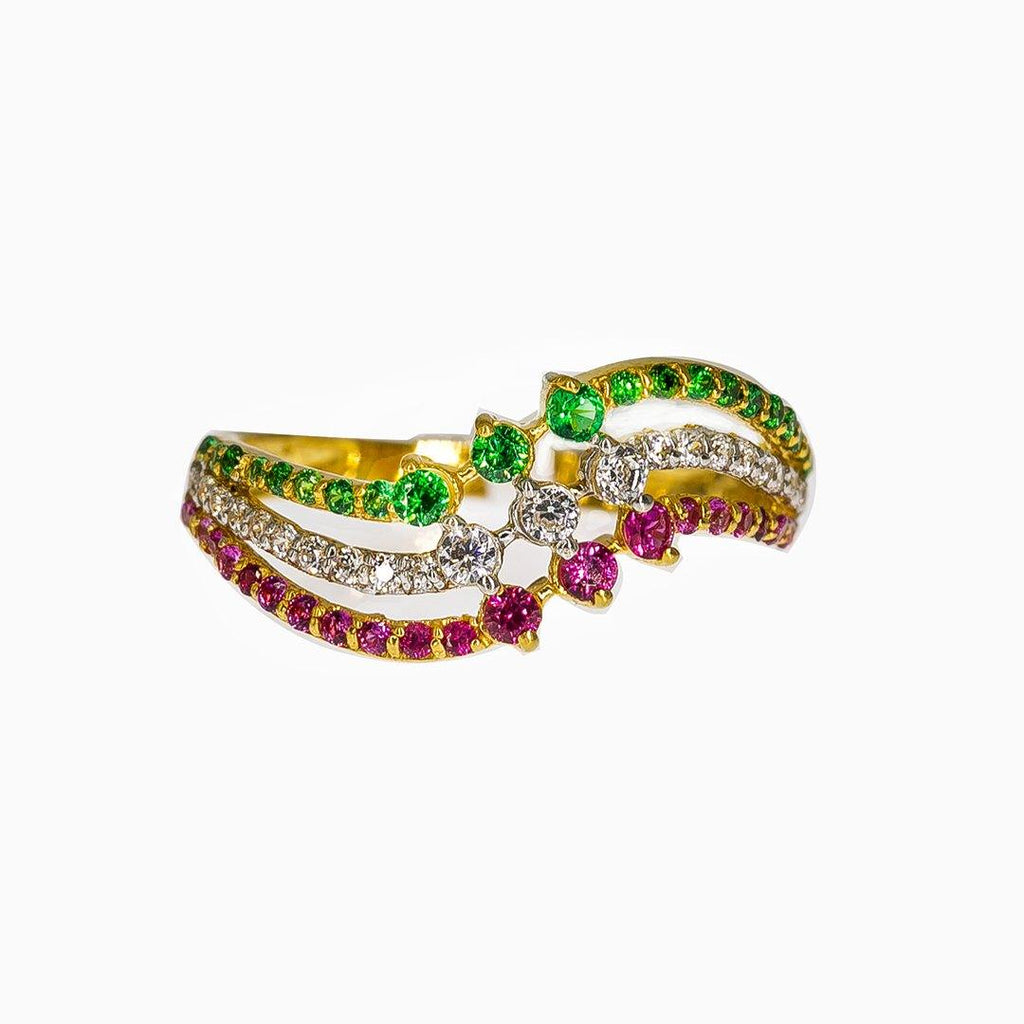 22K Yellow Gold Ring W/ Emeralds, Rubies, CZ Gems & Wave Design |   22K Yellow Gold Ring W/ Emeralds, Rubies, CZ Gems & Wave Design for women. Add a radiant hi...