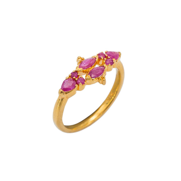 22K Yellow Gold Ruby Ring W/ Elegant Horizontal Prong Set Design | Rubies and vintage design brings together the overall feel of this elegant 22K yellow gold ring f...