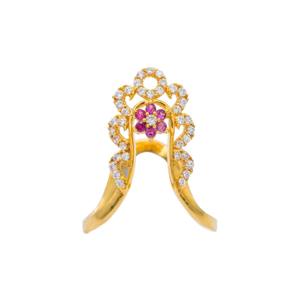 22K Yellow Gold CZ Ring W/ Gemstone Flower & Deep Curved Band | Unique is an accessory best worn with confidence like this 22K yellow gold CZ ring from Virani Je...