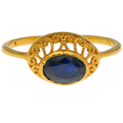 22K Yellow Gold & Sapphire Center Stone Ring
