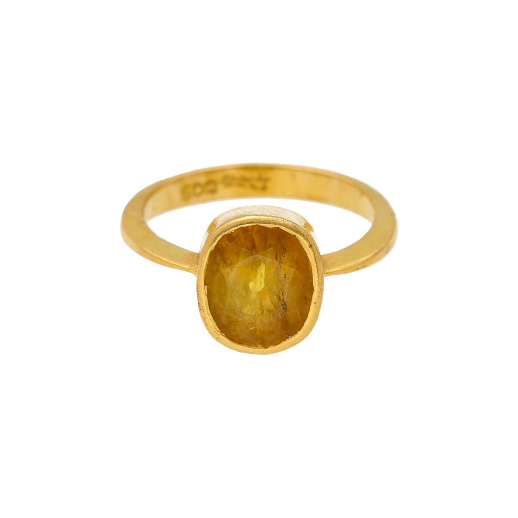 22K Yellow Gold & Sapphire Stone Ring |     This radiant 22k gold yellow sapphire stone ring for women and girls has a simple design with...