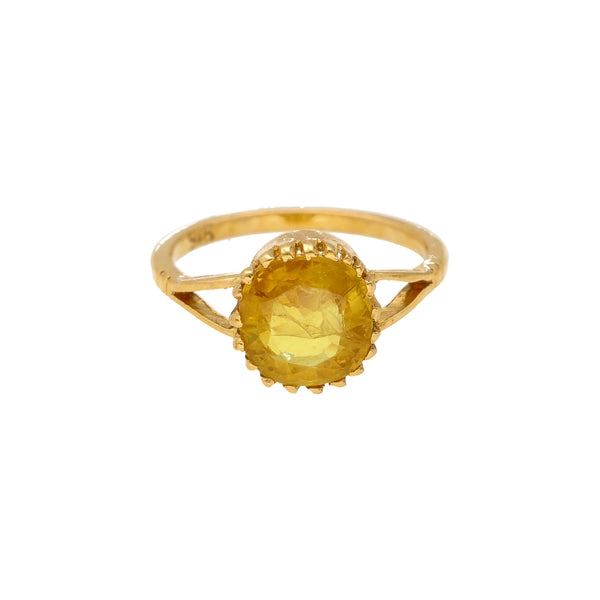 22K Yellow Gold & Sapphire Open Face Side Ring |    Wear this elegant and simple 22k yellow gold and sapphire ring with nearly any look! It's the ...