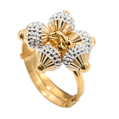 22K Multi Tone Gold Ring W/ Textured Yellow & White Gold Baubles