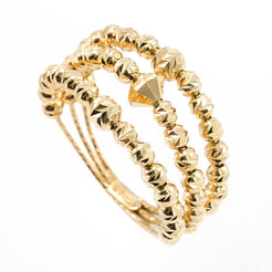 22K Yellow Gold Ring W/ Triple Band & Textured Beads